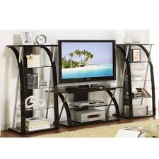 tv stand with shelves. Perfect Shelves Get Quotations  3PC TV Media Stand Shelves With Curved Black Supporting  Tempered Glass And Tv With A