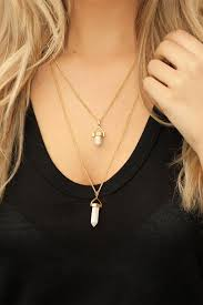 image of sterling forever white marble layered stone necklace