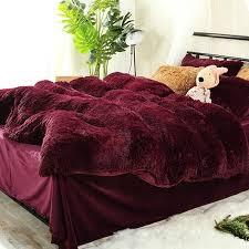 20 offwannaus full size burdy red super soft fluffy plush 4 piece bedding sets duvet cover