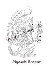 Myassis Draak Cofee Draak Kleurplaten Pagina Dragon Etsy