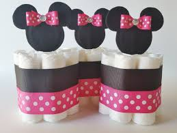 Minnie Mouse Baby Shower Decorations Minnie Mouse Baby Shower Diapers Centerpiece With Balloon Diaper