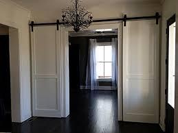 interior sliding door. Furniture:Futuristic White Hanging Sliding Doors Design With Artistic Chandelier And Dark Wood Flooring Ideas Interior Door