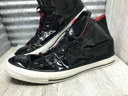 converse black patent leather high top tennis shoes all star size low