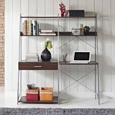 walnut ladder desk with tower bookcase magnifier