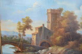 large 19th century italian landscape oil painting in good condition for in los angeles