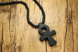 officially mp mens wooden black rosary beads large egyptian ankh cross of life long pendant