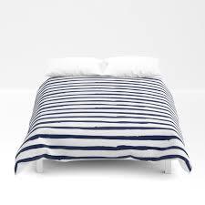 navy blue stripes on white duvet cover
