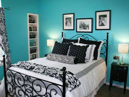 Cool Blue Themes Design Room for Teenage Girls with Elegant Black Metal Bed  Frame that have