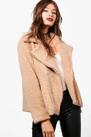 natasha teddy fur biker jacket pem 83013 womens