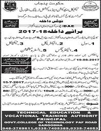 dae years diploma admission notice in gct paf road  dae 3 years diploma admission notice 2017 18 in gct paf road sargodha