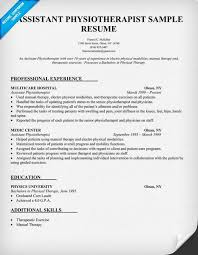 Resume Sample Assistant Physiotherapist Resume (http://resumecompanion.com)  | Resume Samples Across All Industries | Pinterest | Physical therapy and  ...