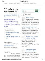 b tech freshers resume format freshman engineer