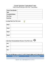 Guest Speaker Form Worksheets Teaching Resources Tpt