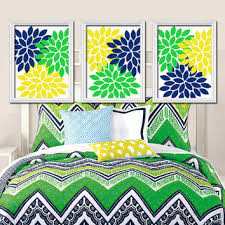 >shop wall art in blue green colors on wanelo yellow navy blue green colors flower burst dahlia artwork set of bedroom stuff