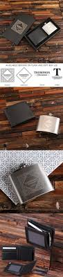 personalized leather wallet swing top flask in black sheen wood box