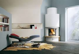 modern round design idea for corner fireplace