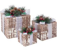 3 Light Up Christmas Boxes Buy Set Of 3 Christmas Light Up Wicker Boxes At Argos Co Uk