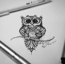 тату эскиз сова и совяталайнворк с дотворком эскиз нарисован за 2