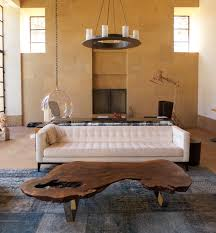 creative furniture ideas. Furniture:Creative Tree Stump Coffee Table In Front Of White Ottoman Under Circle Chandelier Creative Furniture Ideas