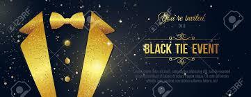 Horizontal Black Tie Event Invitation Businessmen Banner Elegant