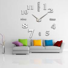 anself modern diy wall clock large watch decor stickers set mirror effect acrylic glass decal home removable decoration com