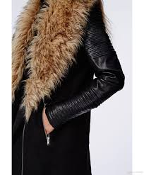 100 praise luxury faux fur big lapel warm winter women pu leather sleeve long trench