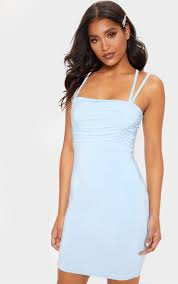 Light Blue Bodycon Baby Blue Slinky Ruched Bust Strappy Bodycon Dress In 2019