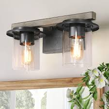 Where To Buy Bathroom Light Fixtures Laluz Bathroom Light Fixtures Faux Wood Bathroom Vanity Lights With Clear Glass Shade For Powder Room Dressing Room Bedroom A03396