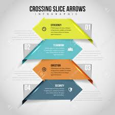 Vector Illustration Of Crossing Slice Arrows Infographic Design