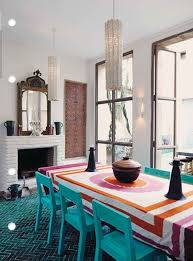 dining room table cloth. Minimalist Dining Room Design With Moroccan Style Colorful Table Cloth Blue Wooden Chairs Fireplace And Dark Rug Image