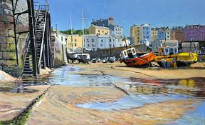 wales tenby painting boats