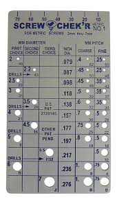 Metric Screw Length Chart Metric Screw Checker 2mm To 7mm Made In Usa