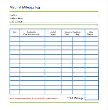 Free Printable Mileage Log For Taxes Free 12 Sample Mileage Log Templates In Pdf Doc