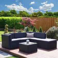 black garden furniture covers. 6 Piece Barcelona Modular Rattan Corner Sofa Set In Black With Dark Cushions Garden Furniture Covers
