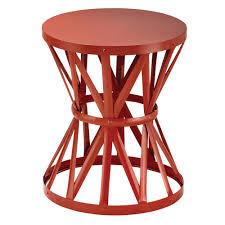 round metal garden stool in chili