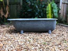 antique galvanized steel baby bathtub footed home decor metal outdoor