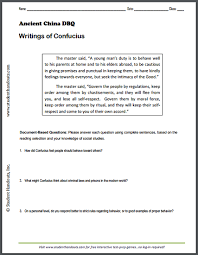 writings of confucius printable dbq worksheet social  writings of confucius printable dbq worksheet