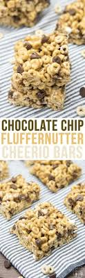 chocolate chip fluffernutter bars these ooey gooey cereal bars are coated in a marshmallow peanut er mixture and stuffed full of