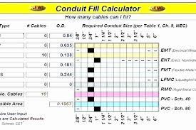 Data Conduit Fill Chart 73 Clean Conduit And Wire Size Chart