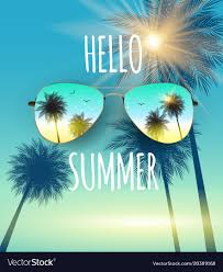 summer background hello summer background with glass and palm vector image