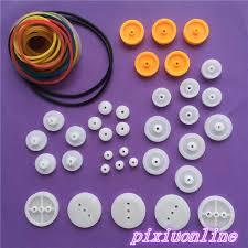 K016Y Lot of <b>DIY Plastic</b> Belt Wheel Sets Drive Belt Pulley Model ...