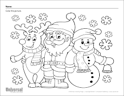 This santa coloring page shows the majestic santa claus in his home, the north pole. Christmas Coloring Page Santa Reindeer Snowman Universal Publishing Blog