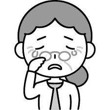 悲しくて泣いているおばあさんシニア女性のイラスト かわいい女性