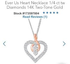 details about kay 14k white rose gold ever us 1 2ct diamond heart necklace kay jewelers