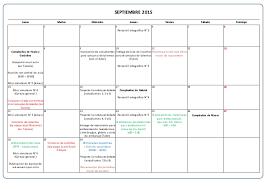 Calendario De Actividades Septiembre Octubre 2015