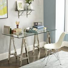 view in gallery metal and glass trestle desk from west elm