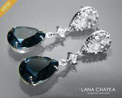 unusual navy blue crystal bridal earrings blue teardrop earrings wedding bridesmaid blue earrings chandelier earrings prom