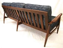 midcentury modern danish sofa with walnut frame and new