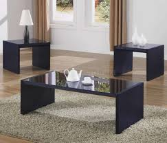 modern coffee table with dark purple accentuates and black glass top for living room table