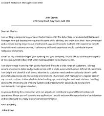 Cover Letter Restaurant Example Cover Letter For Assistant Restaurant Manager Restaurant Assistant